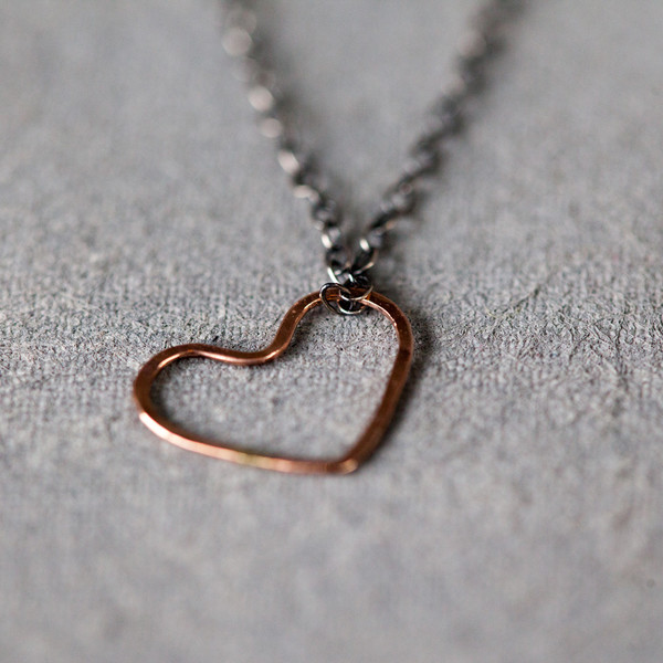 Melissa Joy Manning Heart Pendant Mixed Silver Gold Heart Necklace