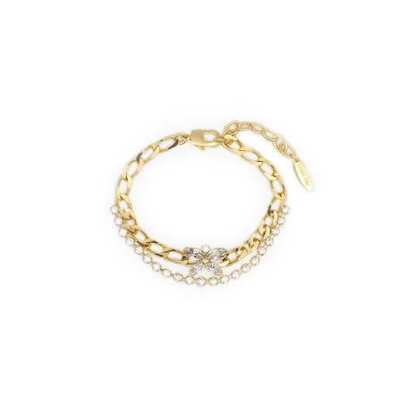 Joomi Lim Mini Crystal Butterfly Layered Crystal & Chain Anklet - 24k gold/brass
