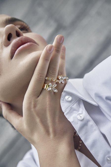 Joomi Lim Mini Crystal Butterfly Open Ring - 24k gold/brass