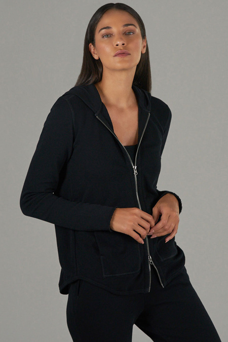 ATM French Terry Zip-Up Hoodie - Black