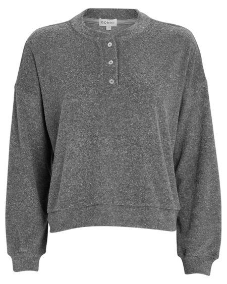 Donni. Terry Henley Sweatshirt - Plush Heather Grey