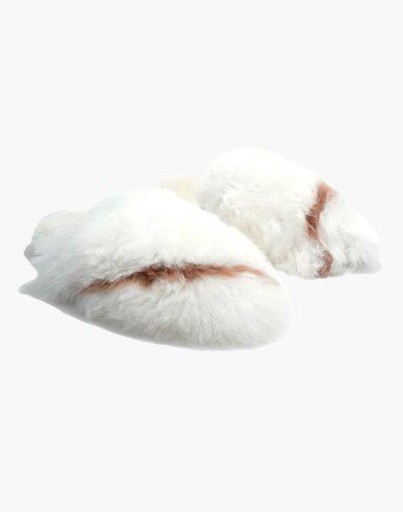 Ariana Bohling Bowie Alpaca Slipper - White/Blush