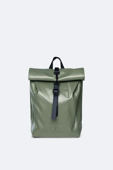 UNISEX Rains Shiny Roll Top Mini Back Pack - Olive