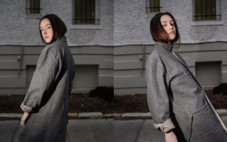 Grieve Japanese Style Wool Felt Coat - Grey