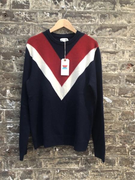 Pre-loved Hartford Chevron Knit sweater - Navy