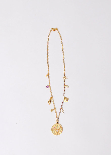 marion mckee jewelry 7 Charm Necklace - 16K gold plated