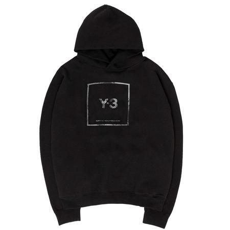 Adidas Y-3 Square Label Graphic Hoodie - Black