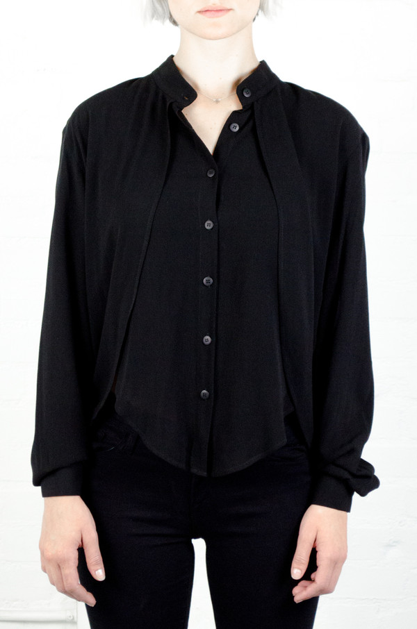 Assembly New York Assembly Black Crepe Calla Layered Top