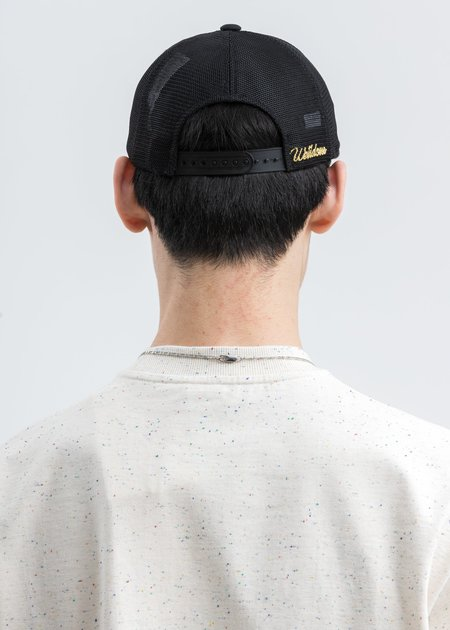 we11done Logo Patch Unbalanced Cap - Black