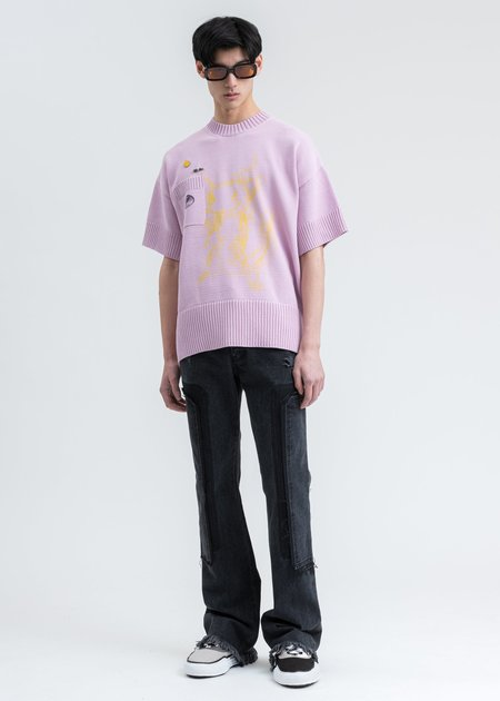 we11done Printed Short Sleeve Pocket Sweater - Pink