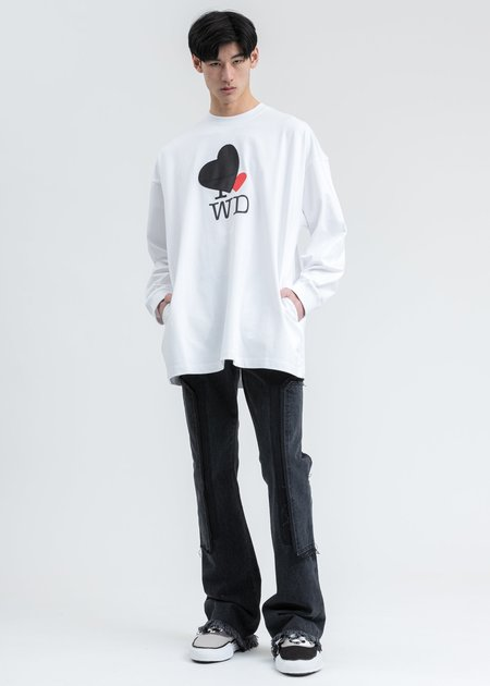 we11done Heart Patch 'I Love WD' Long Sleeve Shirt - White