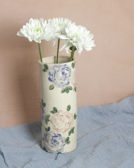 Erika Christine Ceramics Roses Cylinder Vase - Pink/Blue
