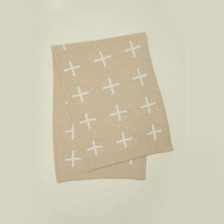 Hawkins New York Cross Knit Wool Throw - Flax