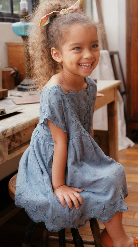 kids Louise Misha Leilani Dress - Storm Plumetis