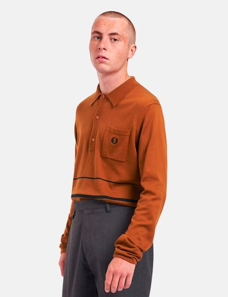 Fred Perry Re-Issue Knitted Stripe LS Polo - Hazel