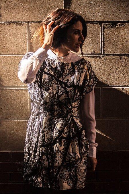 H. Fredriksson Pleat Dress - Trees Silk Twill