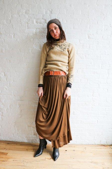 [pre-loved] Jean Paul Gaultier Mesh Pleated Long Skirt - Brown