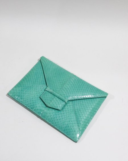 [pre-loved] Oscar de la Renta Embossed Envelope Clutch - Turquoise