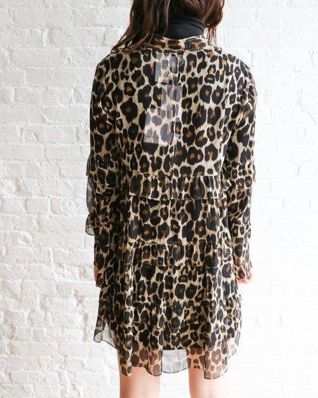 [pre-loved] Robert Rodriguez Tiered Mini Dress - Leopard Print