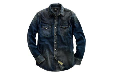 RRL Slim Fit Denim Western Shirt - Dark Wash