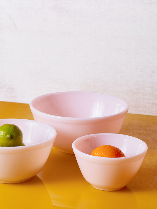 Jadeite Pink Milk Glass Mixing Bowl Set