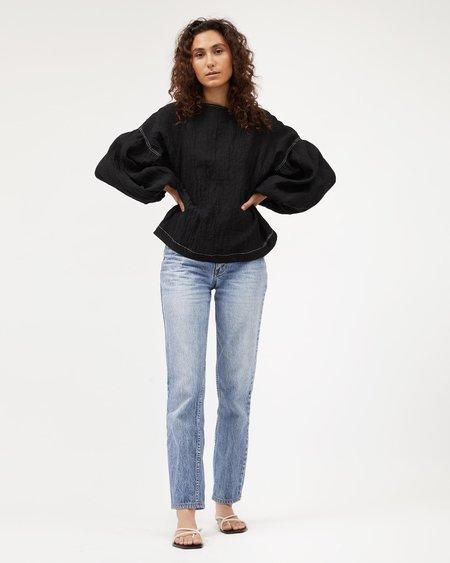 Dominique Healy Bella blouse - Black textured linen
