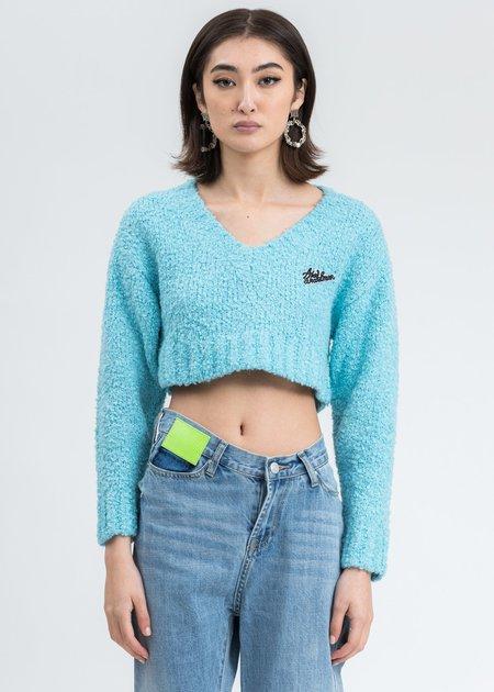 Ann Andelman Logo Crop Sweater - Blue