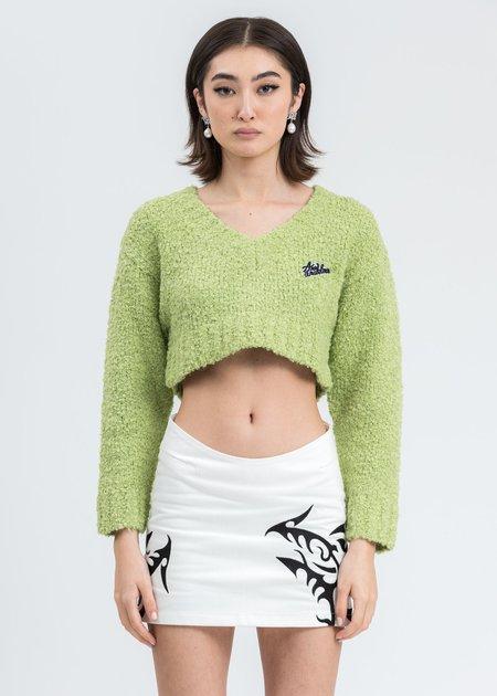 Ann Andelman Logo Crop Sweater - Green