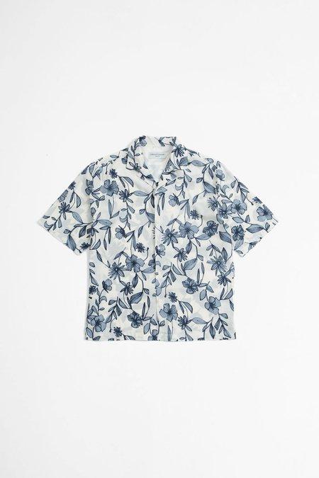 Officine Generale Eren Shirt - Flower Print Ecru/Blue