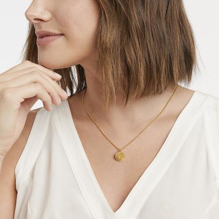 Julie Vos Fleur-de-Lis Solitaire Necklace - 24K gold/iridescent slate blue