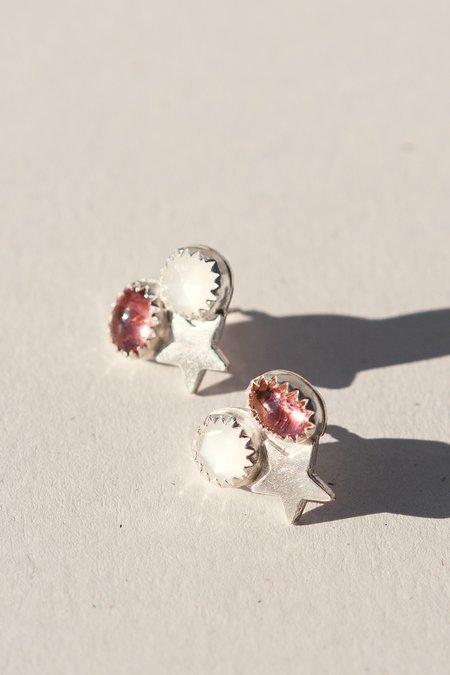 Blue & Blue Star Cluster Earrings - Pink