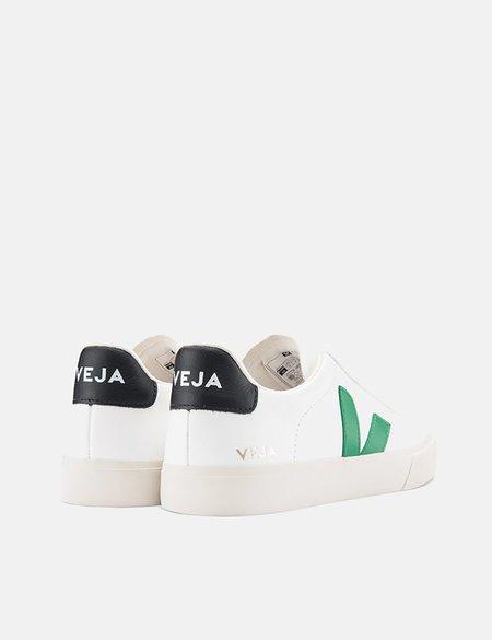 Veja Campo Trainers Chrome Free Leather Shoes - White/Emeraude/Black