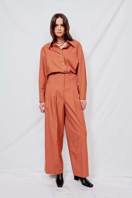 LVIR Wool Contrast Stitch Shirt - Orange