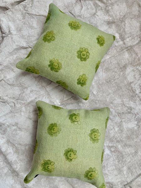 Cuttalossa & Co. Flower Hand Painted Pillow - Green