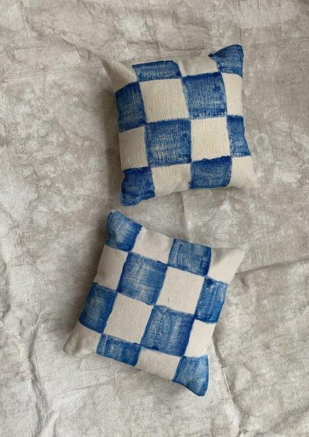 Cuttalossa & Co. Hand Painted Checkered Pillow - blue/cream