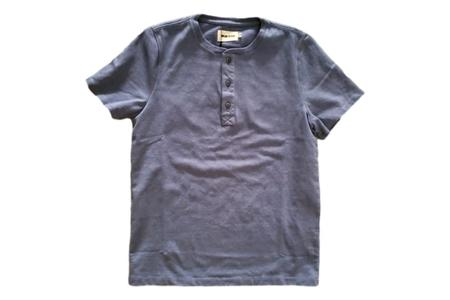 Taylor Stitch Short Sleeve Heavy Bag Henley - Atlantic Blue