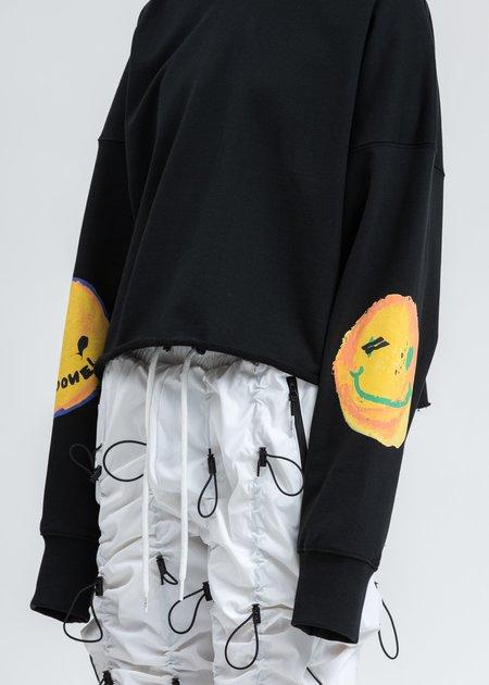 we11done Smiley Raw Edge Sweatshirt - Black