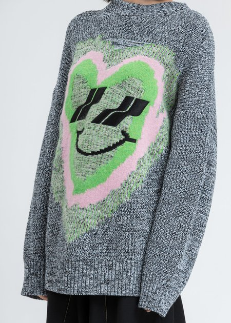 we11done Heart Graphic Jacquard Sweater - Blue