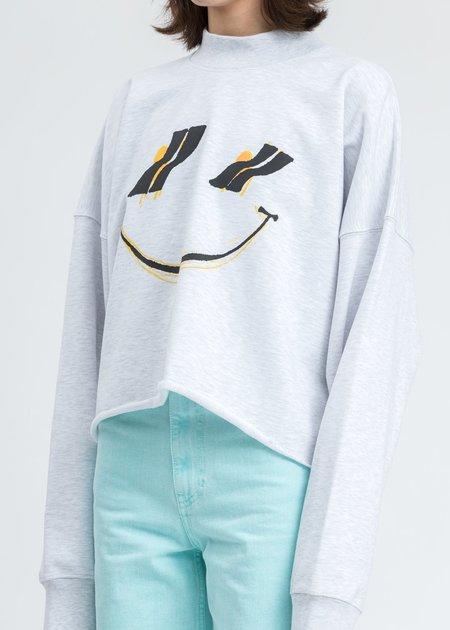 we11done Smiley Raw Edge Sweatshirt - Melange Grey