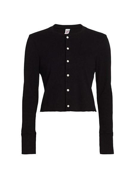 RE/DONE Copy of 50s cropped cotton cardigan - black.