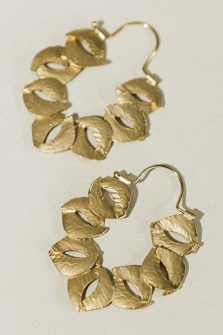 Lingua Nigra Sculptured Hoop Earrings - Gold
