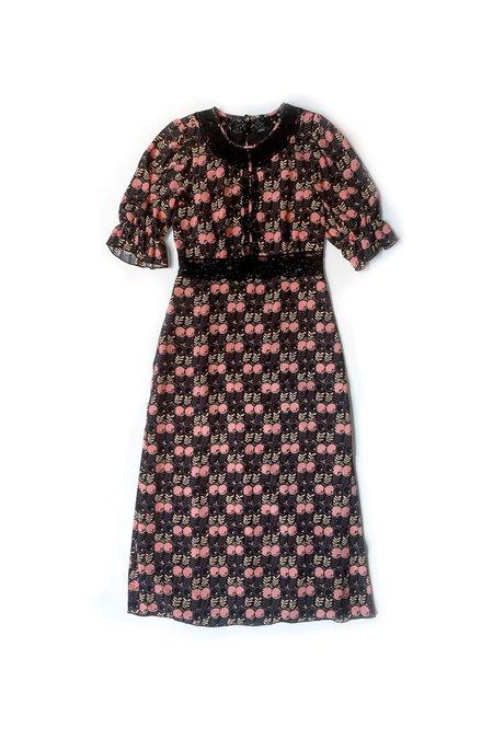 Anna Sui Lace Berry Flower Dress
