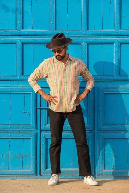 Dushyant Asthana The Amir Long Sleeves Shirt - Orange Stripes
