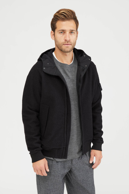 Stone Island Felpa Spugna Cotone Lana Hooded Sweatshirt - Black