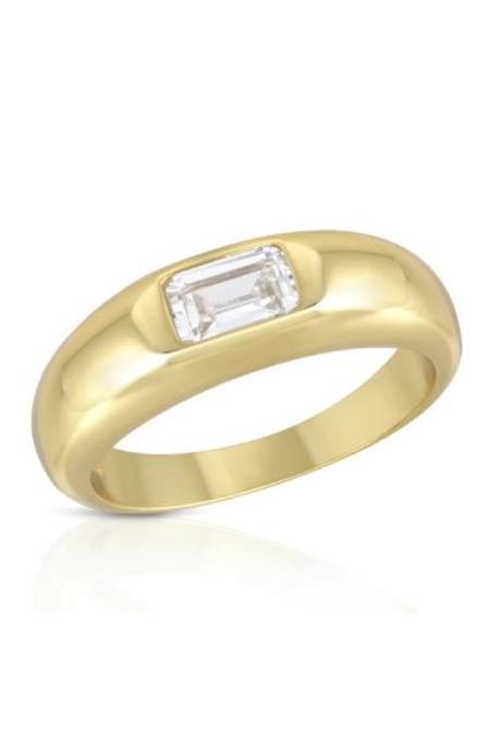 Elizabeth Stone Baguette Dome Ring - Gold