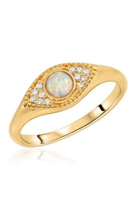 Elizabeth Stone Evil Eye Signet Ring - Opal