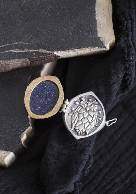 Creature's Virtue Nightowl Locket Ring - Sterling Silver/Brass/Blue Goldstone