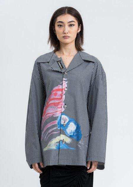 we11done Shell Print Shirt - Black Stripe