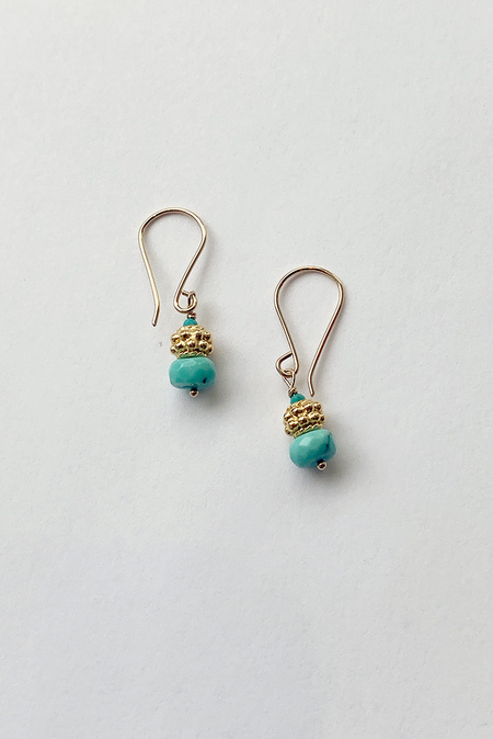 Debbie Fisher Beaded Earring - Turquoise/Gold