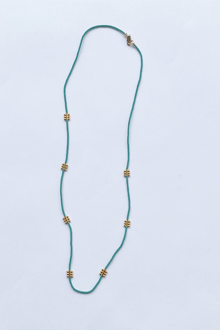 Debbie Fisher Jade Seed with GP Bead Necklace - Green/Gold